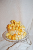 Lemon sponge, white chocolate buttercream and meringues