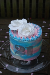 Watercolour effect 21st cake with fondant white roses