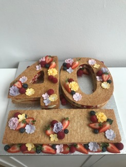 Mixed berry Millefeuille with fondant flowers